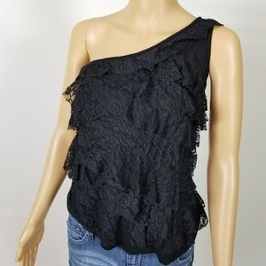 Rue 21 Strapless Off Shoulder Lace Ruffle Blouse L